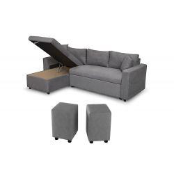 Canapé d'angle réversible, convertible en microfibre avec coffre de rangement + 2 poufs