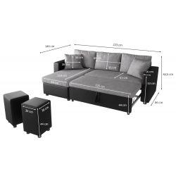 Canapé d'angle réversible, convertible avec coffre de rangement et 2 poufs en microfibre et simili