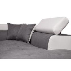 Canapé d'angle convertible 5 places avec coffre de rangement en microfibre et simili
