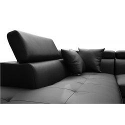 Canapé d'angle convertible 5 places avec coffre de rangement en simili