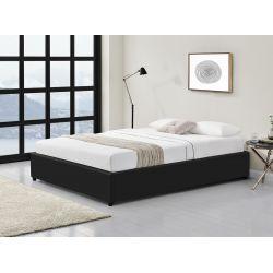 Cadre de lit avec coffre de rangement en simili