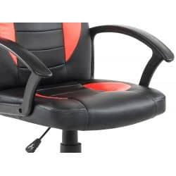 Fauteuil de bureau à roulettes avec accoudoirs en PU noir et rouge