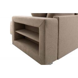 SALMA - Canapé panoramique convertible avec 2 coffres et 1 accoudoir étagère en tissu déperlant