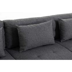 BALA - Canapé panoramique convertible avec large méridienne en tissu et simili