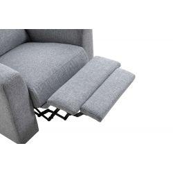 BERKAM - Fauteuil de relaxation scandinave en tissu et pieds bois hêtre