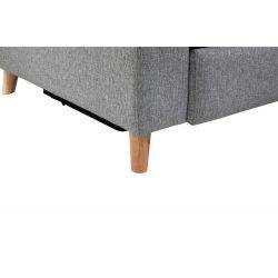 BERKAM - Canapé d'angle de relaxation scandinave avec coffre en tissu et pieds bois hêtre