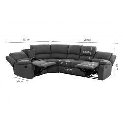 9121L - Canapé d'angle gauche de relaxation 5 places avec accoudoir porte-gobelet modulable et amovible en tissu
