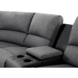 9121L - Canapé d'angle gauche de relaxation 5 places avec accoudoir porte-gobelet modulable et amovible en tissu et simili