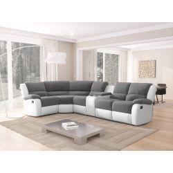 9121L - Canapé d'angle gauche de relaxation 5 places avec accoudoir porte-gobelet modulable et amovible en microfibre et simili