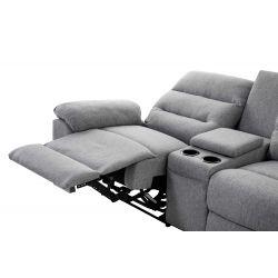 ZENKA - Canapé d'angle de relaxation en tissu avec accoudoir modulable et amovible coffre + chargeur à induction QI + coffre