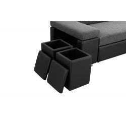 SOFIA - Canapé d'angle convertible avec coffre + 2 poufs coffres avec niche de rangement en simili et tissu