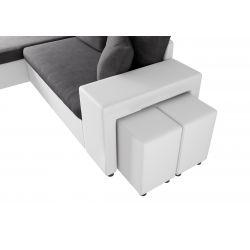 Canapé d'angle réversible convertible avec coffre et 2 poufs en microfibre et simili