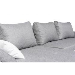ALIX - Canapé d'angle convertible en tissu et simili avec coffre de rangement