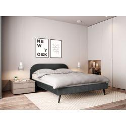 1202 - Cadre de lit scandinave avec tête de lit et sommier à lattes en velours