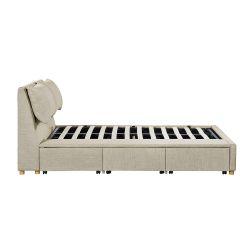 1313 - Cadre de lit avec coffre tiroir latéral en tissu