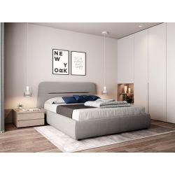 1388 - Cadre de lit avec tête de lit et sommier à lattes en tissu
