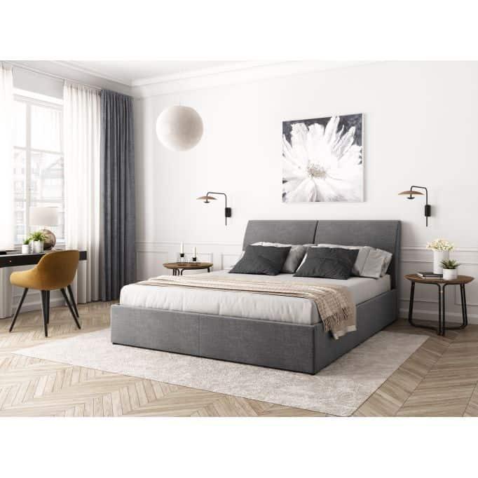 1428 - Cadre de lit avec coffre, tête de lit et sommier inclus en tissu