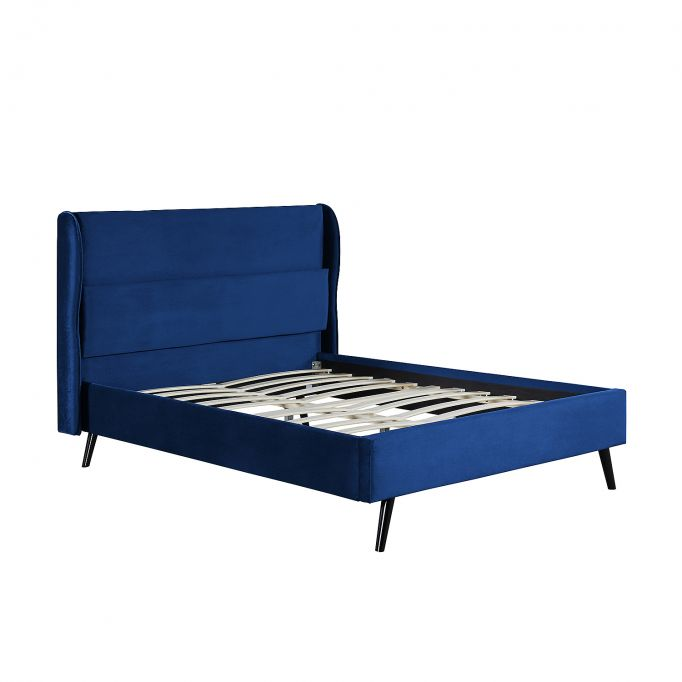 1493 - Cadre de lit avec tête de lit et sommier à lattes  en velours