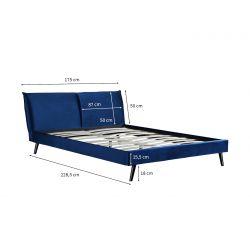 1494 - Cadre de lit avec tête de lit et sommier à lattes  en velours