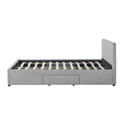 1489 - Cadre de lit avec 1 tiroir latéral droit et 2 tiroirs frontaux en tissu
