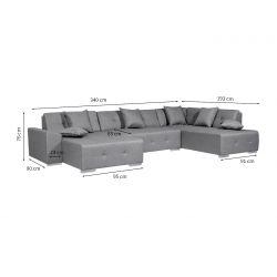 BETTY - Canapé d'angle panoramique en tissu