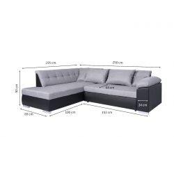 LINA - Canapé d'angle convertible en tissu et simili
