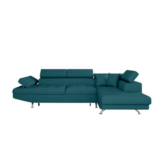 Canapé d'angle convertible 5 places avec coffre de rangement en tissu