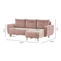 DENTORE - Canapé d'angle réversible, convertible en  velours et pieds bois clair avec coffre