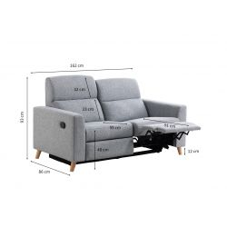 BERKAM - Canapé de relaxation scandinave 2,5 places en tissu et pieds bois hêtre
