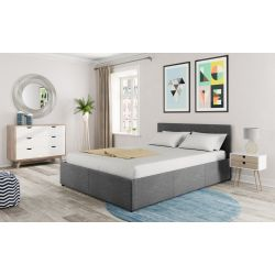 1166 -Cadre de lit avec coffre de rangement et tête de lit en tissu