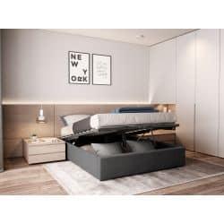 1155 - Cadre de lit avec sommier à lattes et coffre de rangement en tissu