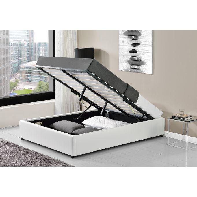 1155 - Cadre de lit avec sommier à lattes et coffre de rangement en simili