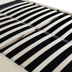 1250G - Cadre de lit avec coffre et tête de lit capitonnée en tissu