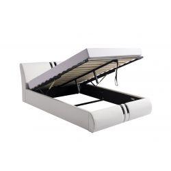 1143 - Cadre de lit avec tête de lit et sommier à lattes et coffre de rangement en simili