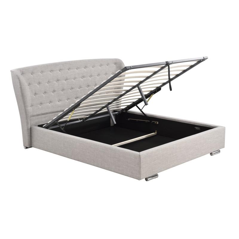 1292- Cadre de lit avec tête de lit et sommier à lattes et coffre de rangement en tissu