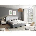 1466 - Cadre de lit avec tête de lit et sommier à lattes et coffre de rangement en tissu