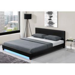 1803 - Cadre de lit avec éclairage LED, tête de lit et sommier à lattes en simili