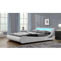 WSB8911 - Cadre de lit LED avec tête de lit et sommier à lattes en simili