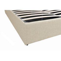 1485G -  Cadre de lit avec tête de lit et sommier à lattes et coffre de rangement en tissu
