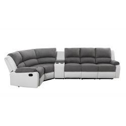 9121L - Canapé d'angle droit de relaxation 5 places avec accoudoir porte-gobelet modulable et amovible en microfibre et simili