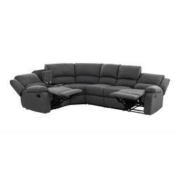 9121L - Canapé d'angle droit de relaxation 5 places avec accoudoir porte-gobelet modulable et amovible en tissu