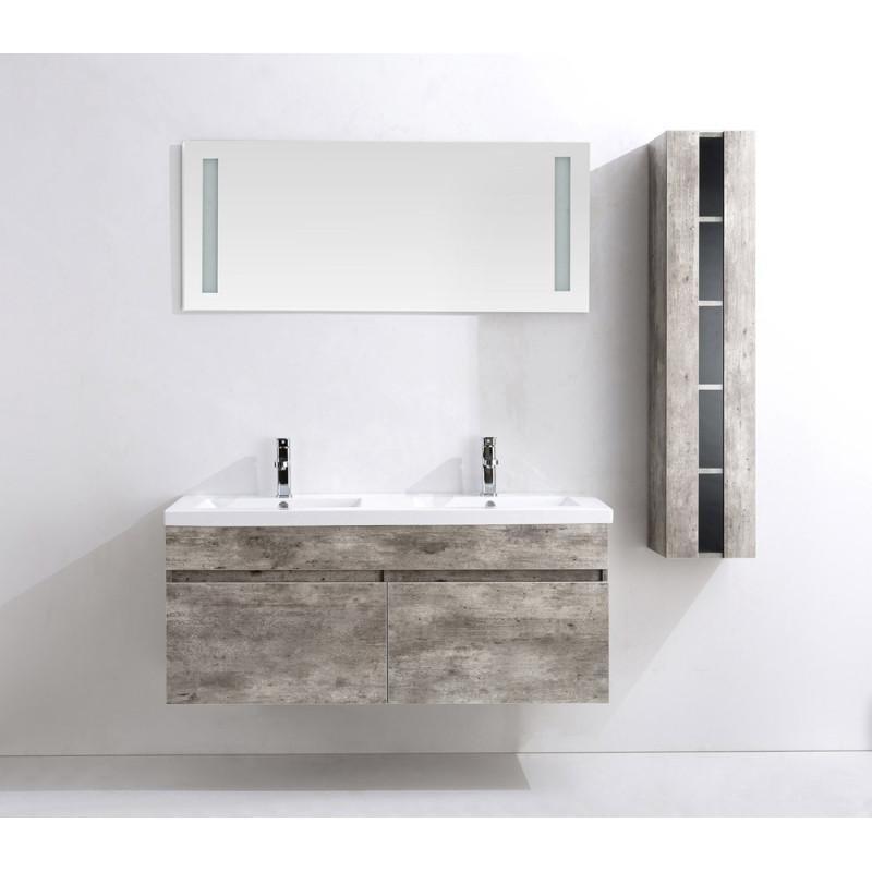 Meuble salle de bain double vasque en bois sajuco - Meuble salle de bain bois fonce ...