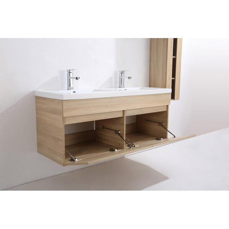 Meuble salle de bain double vasque en bois sajuco Meuble sdb double vasque