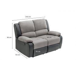 9121EE - Canapé de relaxation électrique 2 places en microfibre et simili