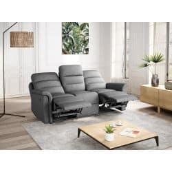 9222 - Canapé de relaxation manuel 3 places en tissu