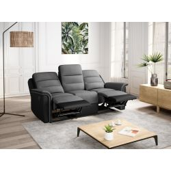 9222 - Canapé de relaxation manuel 3 places en simili et microfibre