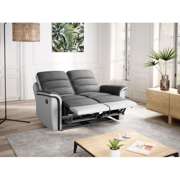 9222 - Canapé 2 places de relaxation en microfibre et simili
