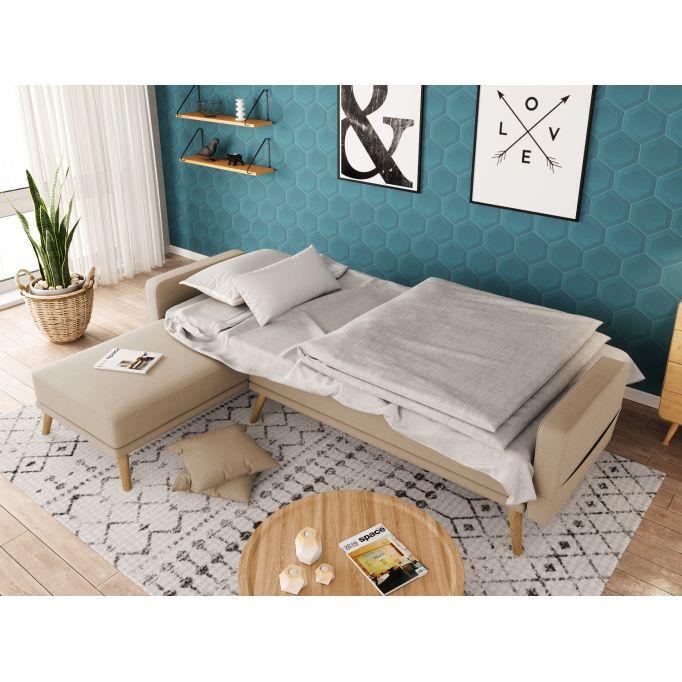 Canapé d'angle réversible convertible et pieds bois