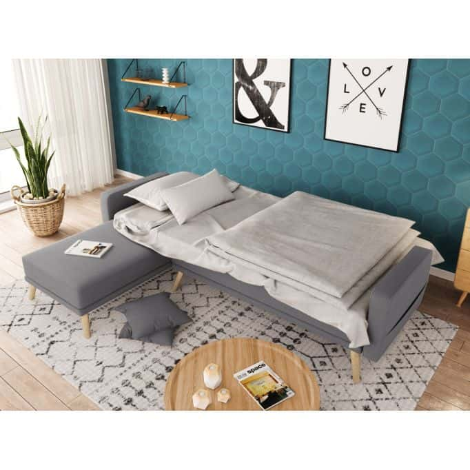Canapé d'angle réversible convertible en tissu avec pieds bois clair