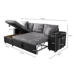 MARIA PLUS - Canapé d'angle réversible convertible avec coffre et 2 poufs en microfibre et simili